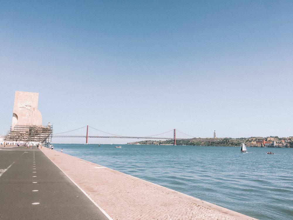 Padrao dos Descobrimentos with the  Ponte 25 de Abril suspension bridge in the background