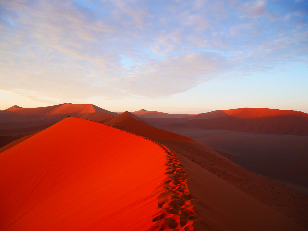 What is cute about red sand dunes in Namibia? ugh