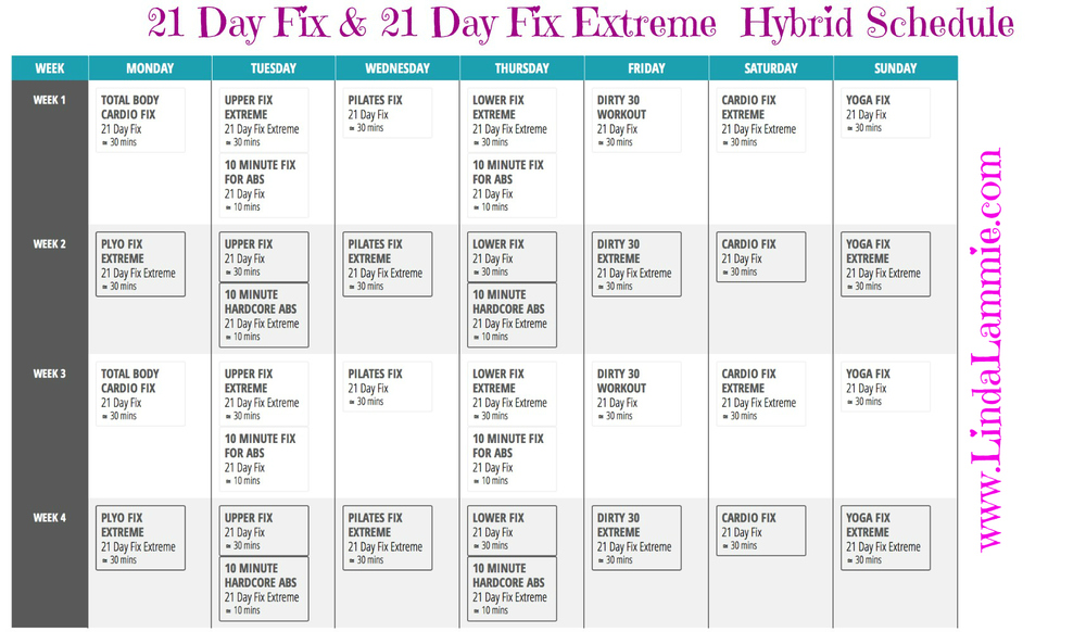 21 Day Fix & 21 Day Day Fix Extreme Hybrid Workout Schedule — Linda ...