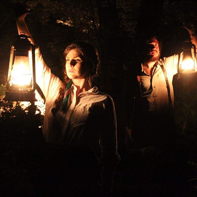 """Jazz is blaring out of  the gramophone Matsudaira is cranking. Haviland and Ora are walking in the dark, carrying oil lamps. Behind them light from camp is still visible."" 🌿Flora🌿 written by Sasha Louis Vukovic starring Caleb Noel, Teresa Marie Doran and Dan Lin #comingsoon #florathemovie #millcreekentertainment"