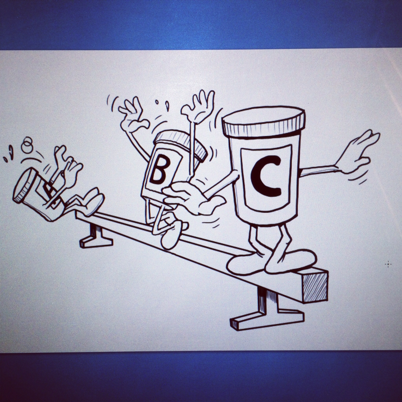 a storyboard drawing of anthropomorphized medicine!