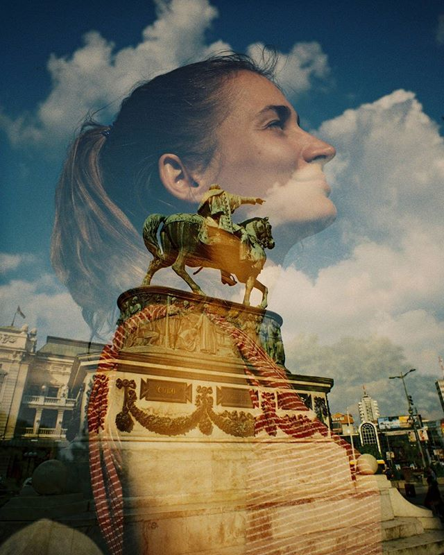 No filter. First shot is a portrait of Csenge on a Bessa R3A w/40mm lens, second shot the film was re-loaded into a Lomo LC-Wide w/17mm and shot in the town square. #doubleexposure