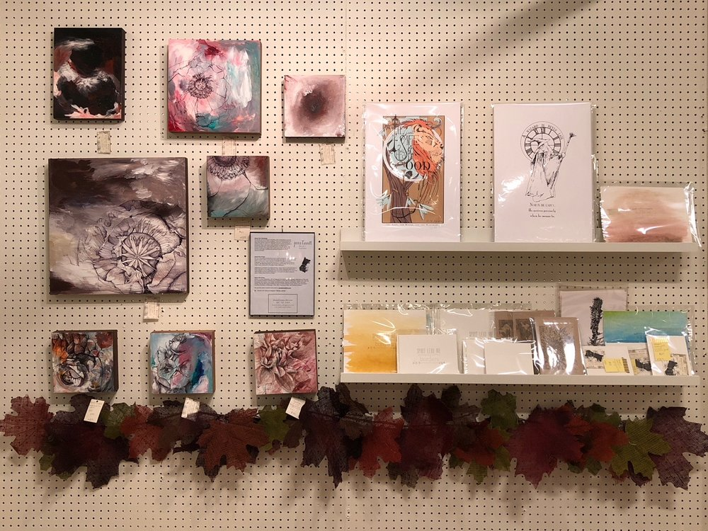 Artist:  Jenna Cornell   Short Bio:  My process and work explores storytelling, often reinterpreting memories and constructing stories with my subjects. One of my favorite symbols for telling these stories is plant life. Botanicals hold such a sentimental and heirloom quality for most of us, containing unique mempries and stories in themselves. Each of the mixed media paintings is created based on flowers and plants that I have personally grown in my own garden. The process of these works begins when I plant seeds in the spring and fall and then culminates in painting and drawing the plant's story in an abstract landscape.