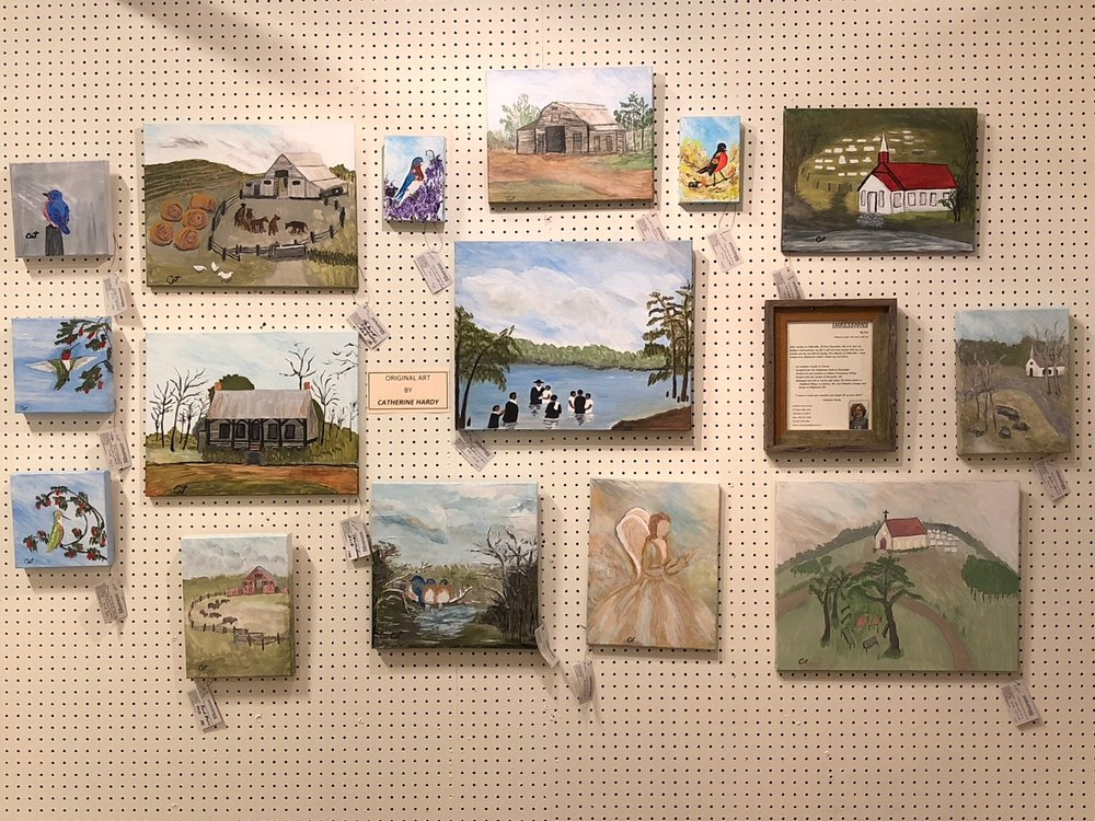 Artist:  Catherine Saxton Hardy    Short Bio:  Ms. Hardy studied art and ceramics at Holmes Community College and became accepted into the Craftsman Guild of Mississippi. She displayed and sold at various gift shops including The Early Settler in Highland Village in Jackson MS. and Palladian Consign and Design in Ridgeland, MS. Her work includes original acrylic and watercolor pieces.