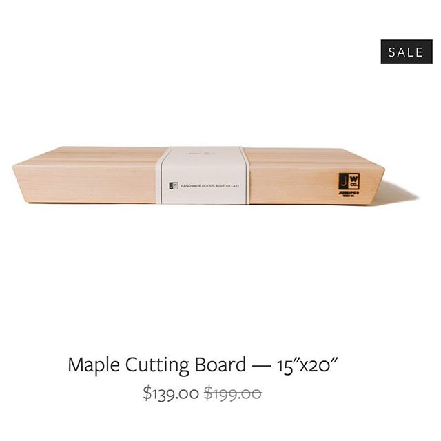 Cyber Monday (and all week) sale: 30% off all cutting boards! No promo code, discount already reflected on our website.  http://juniperwood.co/  We're also adding free gift wrapping for you folks putting our boards under your tree. Tell us when checking out & we'll take care of the rest.  Merry Christmas!