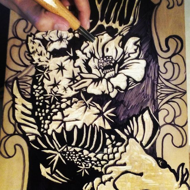 Woodcut on its swim to the finish line. .... ;) #fish #woodcut #art #koi #cactus #drawing