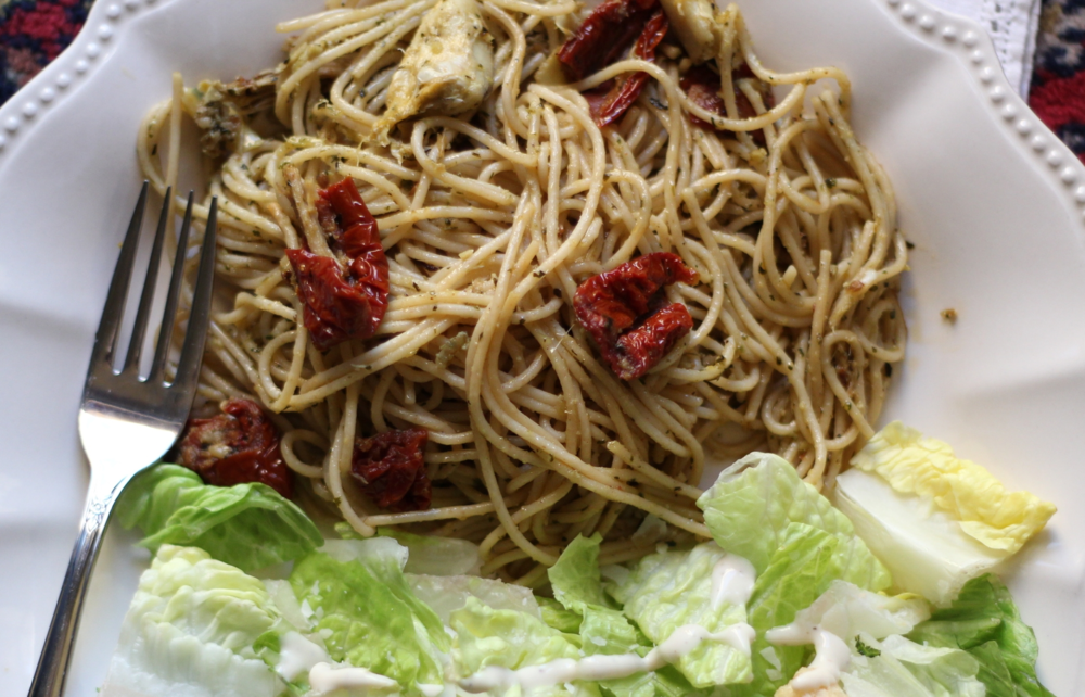 Chicken pasta with pesto