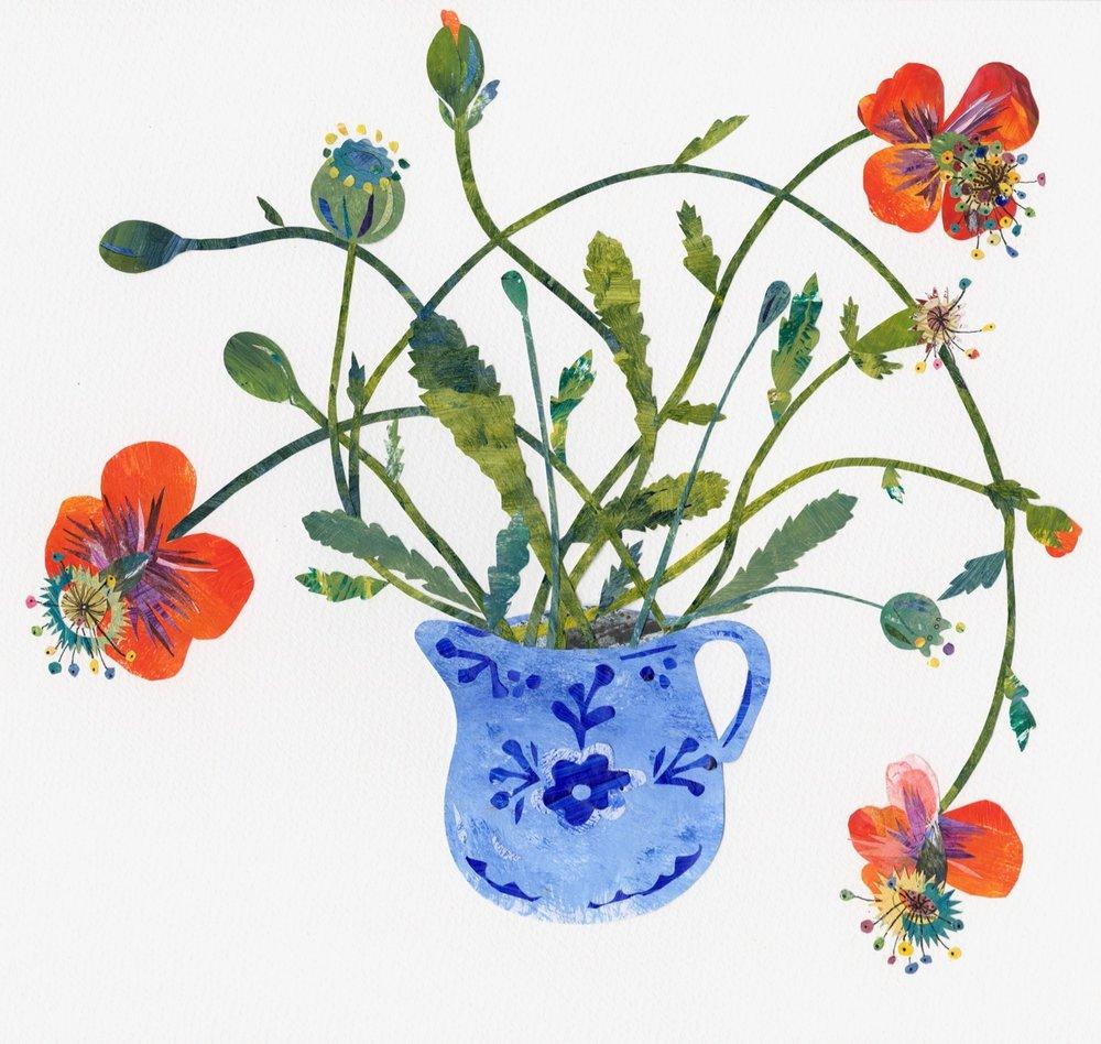 Poppies in Blue Jug