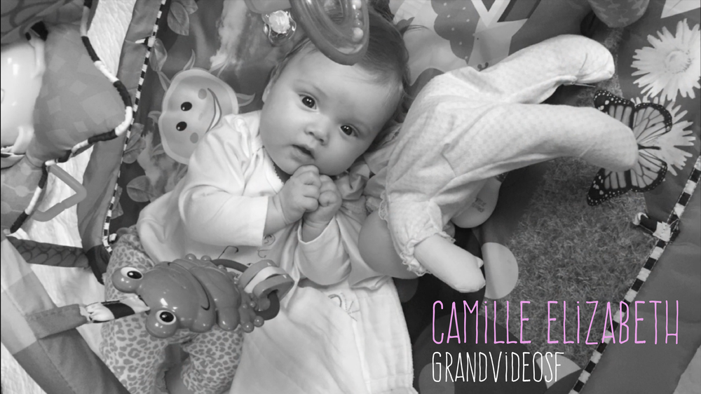 Grand Video provided video editing services to create a baby's firsts milestone video for Camille.