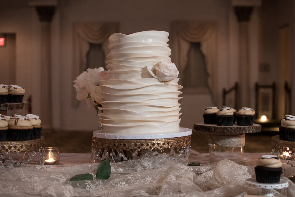 simple textured white wedding cake , Maryland