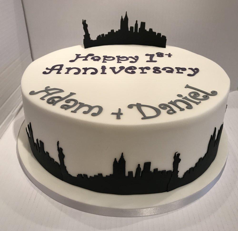 1st Year Anniversary cake for Adam and Dan, from Caldicott.