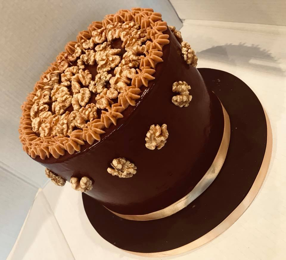 6 layer chocolate & walnut gateaux …taken to France for a special celebration!