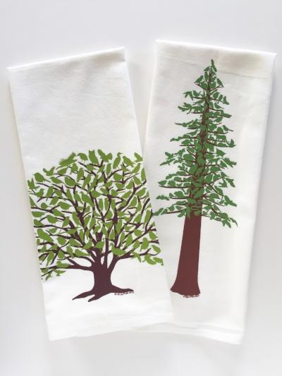 Oak and Redwood Tea Towels