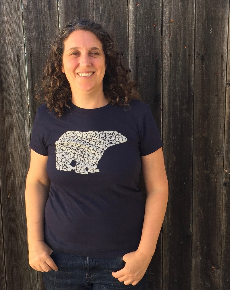 Alice wearing the polar bear shirt from her foray into arctic animals.
