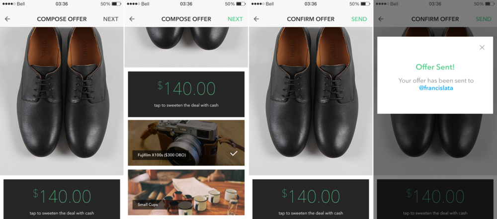 Offer flow.  If you could offer an item and also cash on something you wanted but didn't want to outright buy, would that be enough of a reason to use this app? The value of the seller's item and the value of your offer as a buyer was left up to each respective party to judge independently. The app just pre-filled the cash input box with the value of the seller's ask for that item, if it was a trade item without a price attached then the value would be $0.