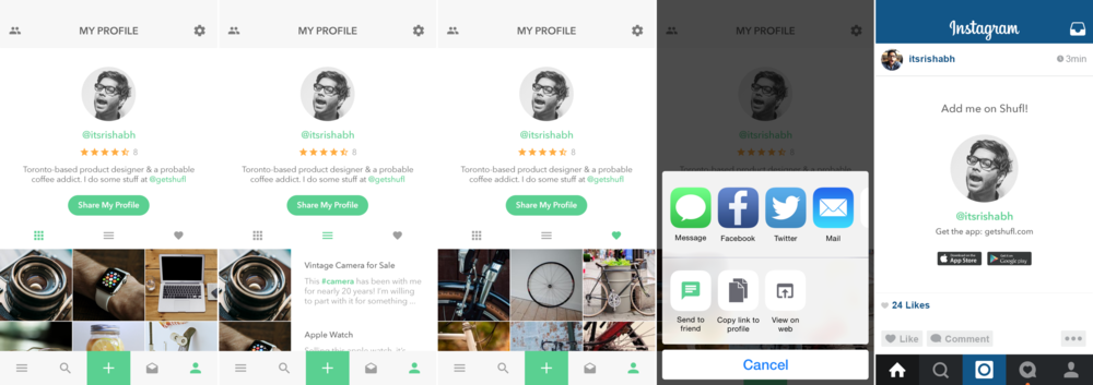 """The focus was on the items on a user's profile but we also tried to make the profiles a bit """"social"""" by including bios, being able to share your Shufl profile on 3rd party apps such as Facebook or Instagram. We hoped that the social shares would help the Shufl platform grow, but if anything it wasn't worth the development time to the tradeoff of less than 100 shares while Shufl was still active."""