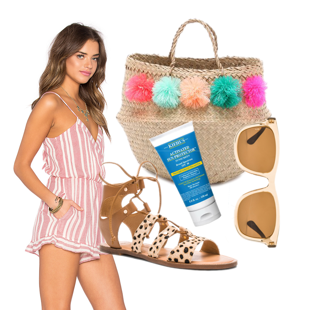 Wonderland Mojave Sunglasses $135 // Dolce Vita Jasmyn Calf Hair Sandal $110 // Kiehl's Activated Sun Protector For Face And Body $29 // Tularuso X Revolve Amelia Romper $158 // Eliza Gran Venice Tote $98