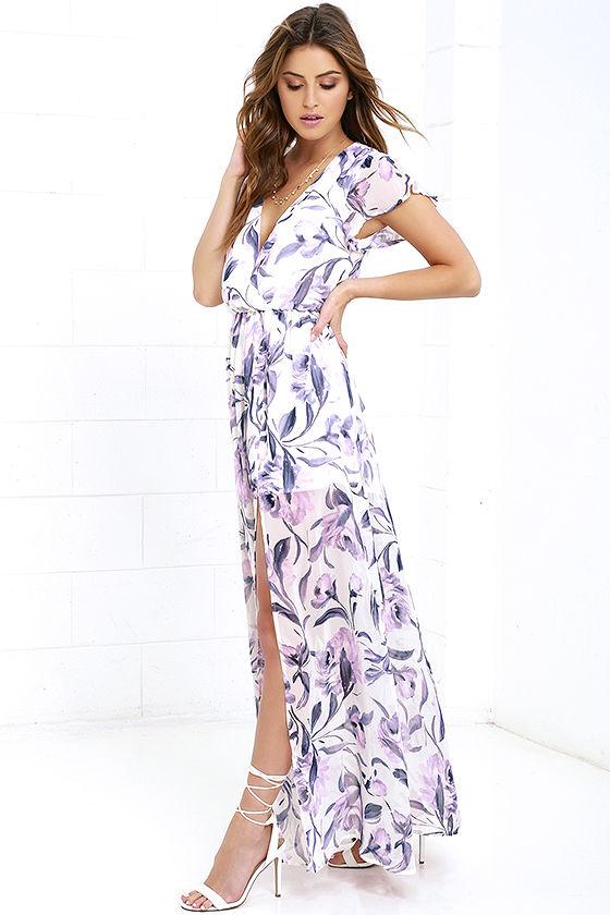 Lulu's Where Wild Flowers Grow Ivory Flora Print Maxi Dress $84