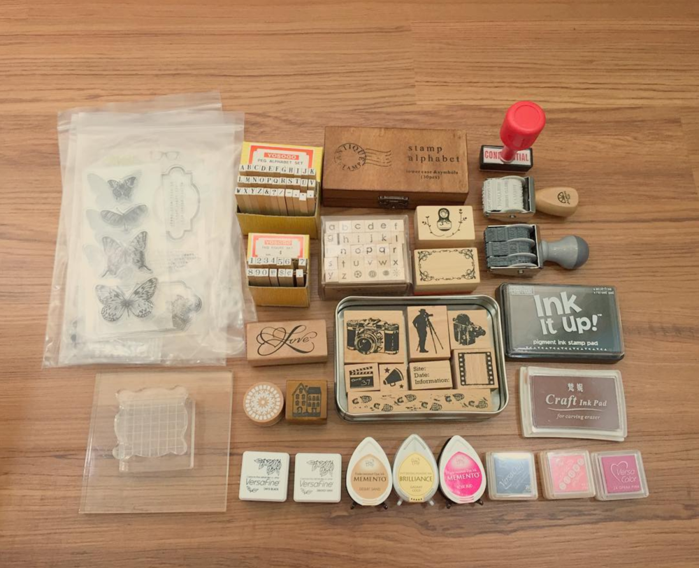 """My collection of stamps and ink pads.  #techdoppkit """