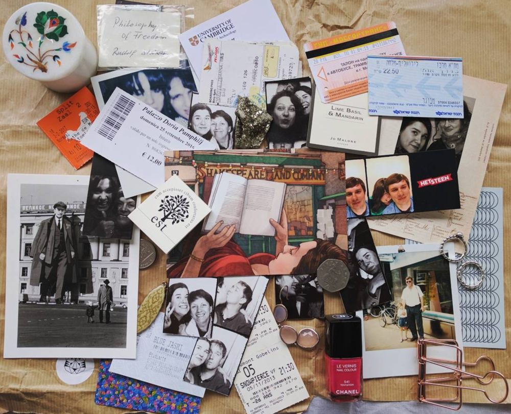 """History is surely my profession. Artifacts from nine countries and twenty two years in one pic. From family polaroids to a note given by a stranger in the waiting room of Amsterdam Centraal.  #techdoppkit """