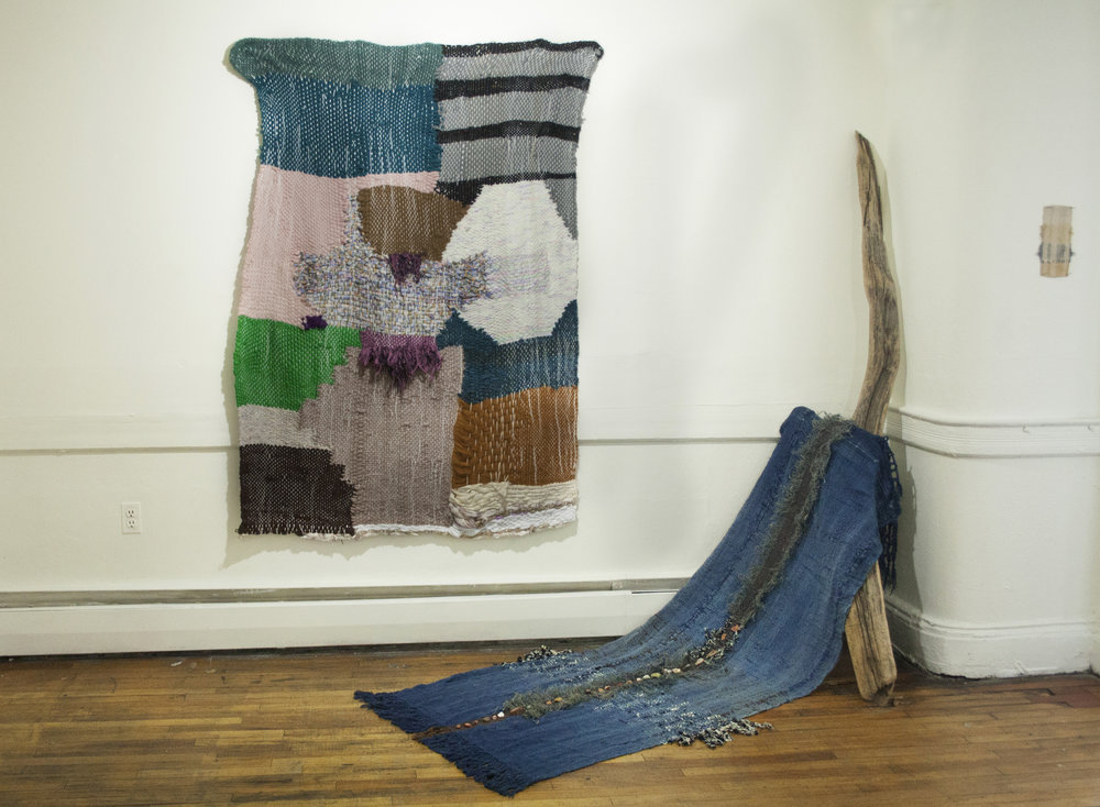shield alternate   tapestry weaving 4.5x6'    big creek, high desert   hand weaving, burlap, indigo,rocks, driftwood 3x9'