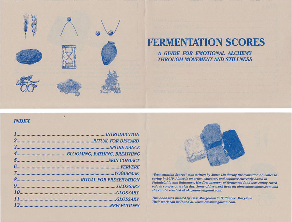 Fermentation Scores for Emotional Alchemy through Movement and Stillness   16 page risograph workbook with/ edition of 150 bound with copper thread  printed by  Cass Macgowan  please email okayaimeegmail.com if you would like a copy  (scores on next page)