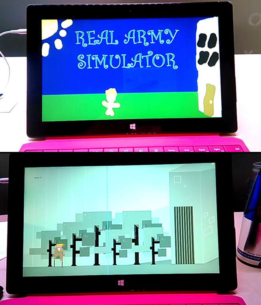 Real Army Simulator in development at TOJam 2015, comparing placeholder art with final art