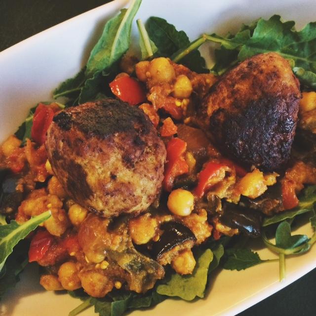 Moroccan Roasted Vegetables w/ Turkey Meatballs