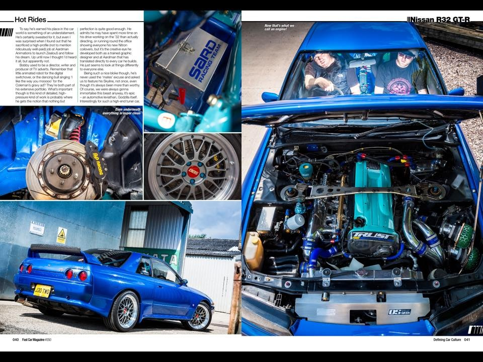 Feature spread from FAST CAR Magazine, Issue 350 January 2015, Zealou5 R32 GTR demo car.