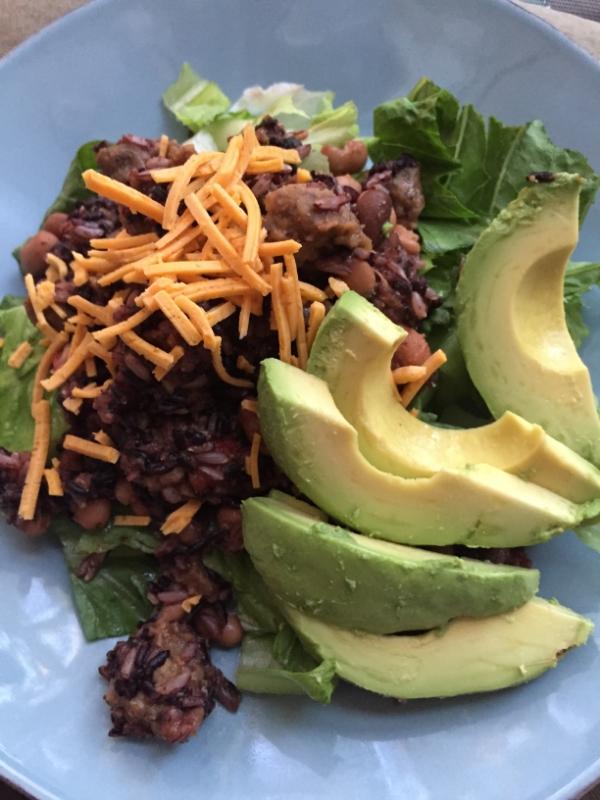 mixed bean and rice taco salad