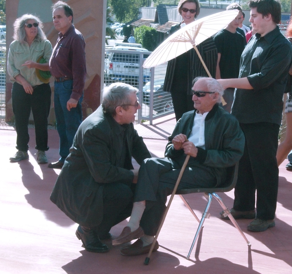 Will Bruder (left) with Paolo Soleri at the dedication of the Soleri Bridge and Plaza, 2010 © David DeGomez