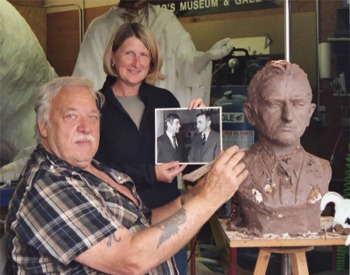 June, 2004.  Lorenzo E. Ghiglieri with Kathy Bridges beginning the bronze bust in clay.