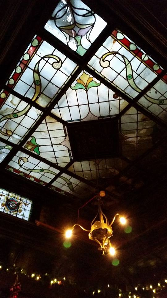 The Stag's Head: The stained glass skylight at the snug bar.