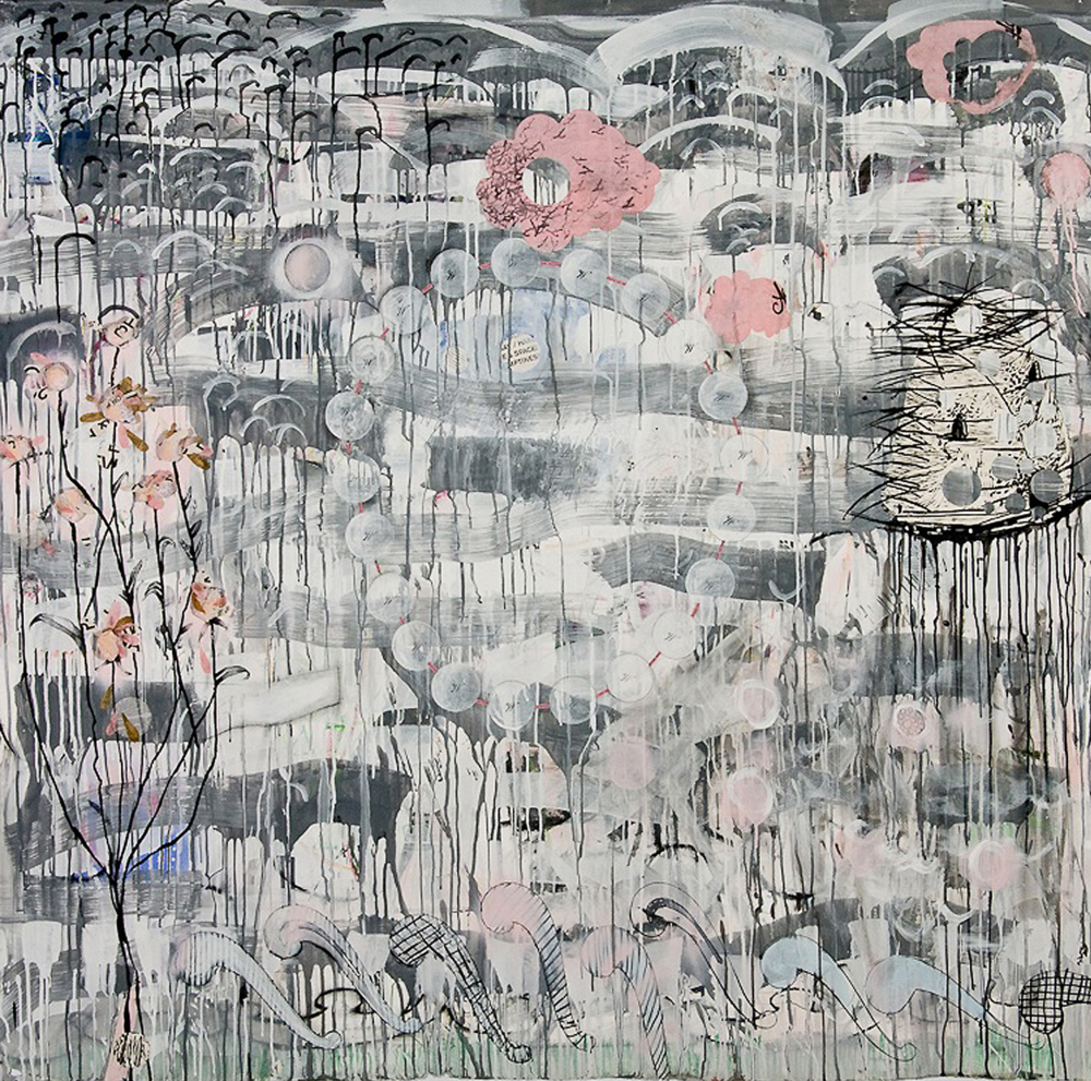 "The (W)hole Wide World, 69"" x 69""; mixed media on paper; 2010"