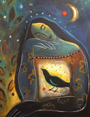 "Painting ""Woman Talking with Crow"" by Linda G. Fisher"