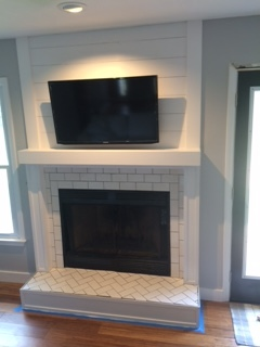 The fireplace got done!
