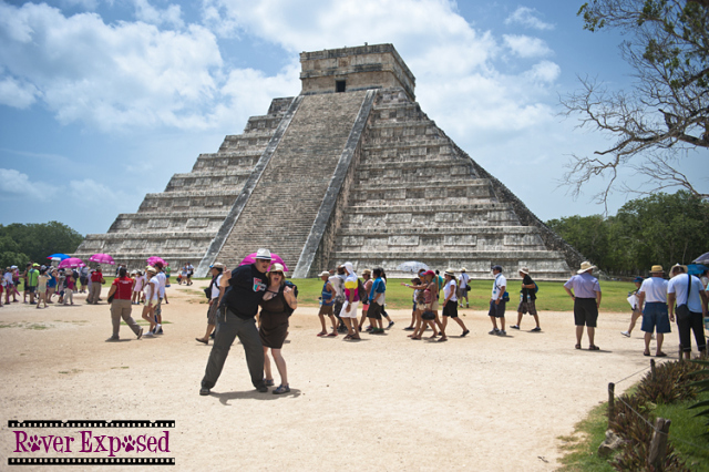 our first view of the pyramid at Chichen Itza Flea Market
