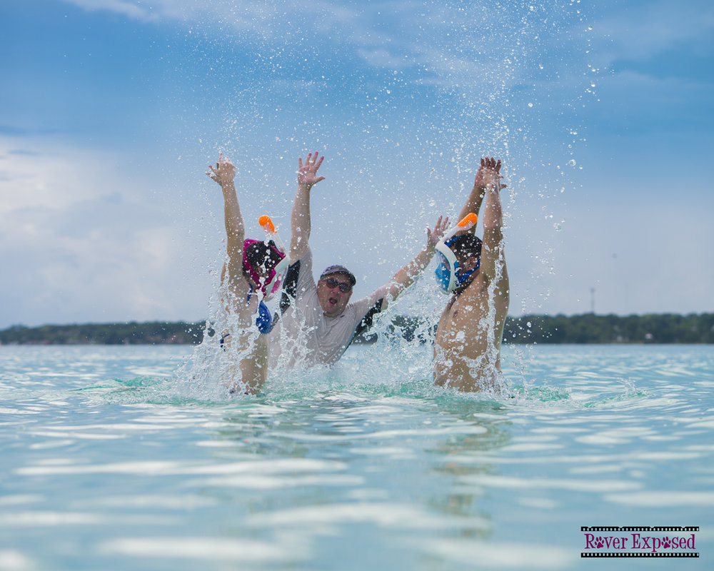 splashing in Bacalar