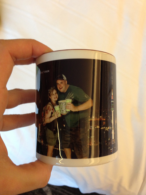 our adorbs mug, featuring our couple's popcorn, soft drinks, and a night shot of Seoul