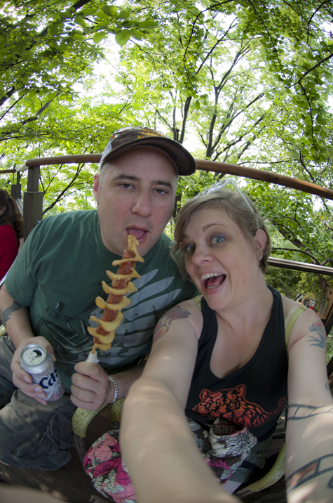 Jason looks exhausted, and I look deranged, and the fisheye lens distorted my arms!