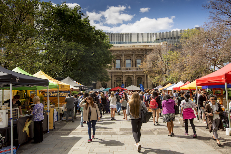 The University of Melbourne's weekly Farmer's Market showcasing local produce, suppliers and food-makers