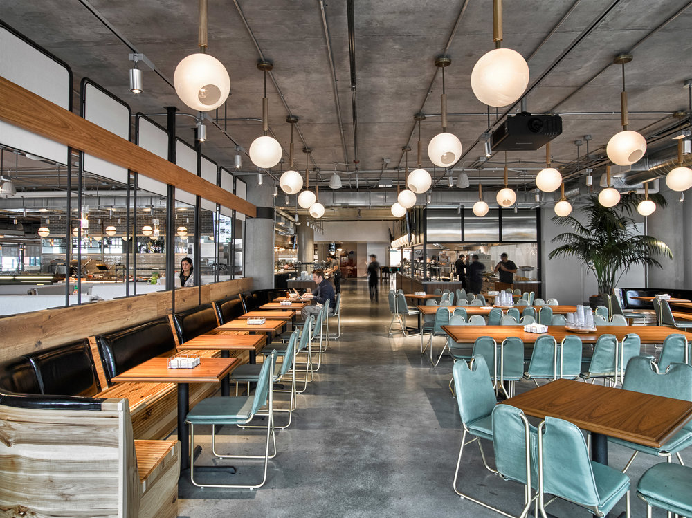 Dropbox HQ's cafeteria offering 6 food destinations to hold staff meetings, provide break out space and offer hospitality to clients and users who visit (via Dezeen)