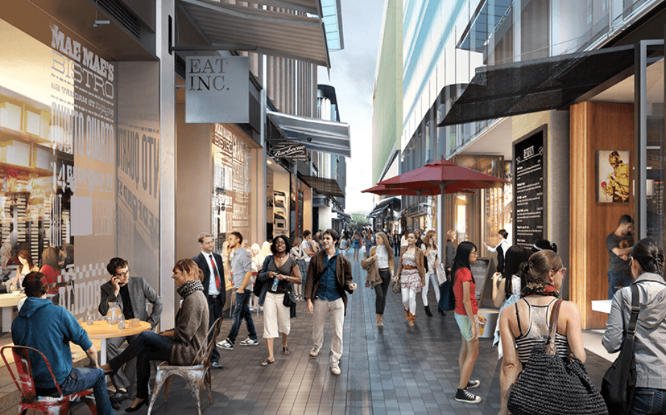 The Streets of Barangaroo have transformed a once isolated area into a place of hospitality (image via Barangaroo)