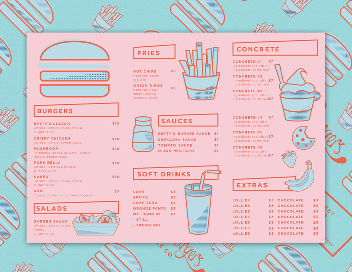 Betty's Burger Menu by Folke Army  (image via The Loop)