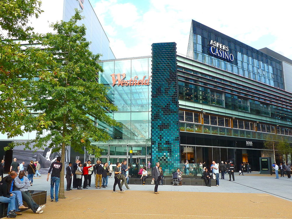Major retail giant, Westfield is expanding by adding residence to their already existing retail centres  starting with a 1200-apartment project  at Westfield Stratford in London (image via  Wikipedia )
