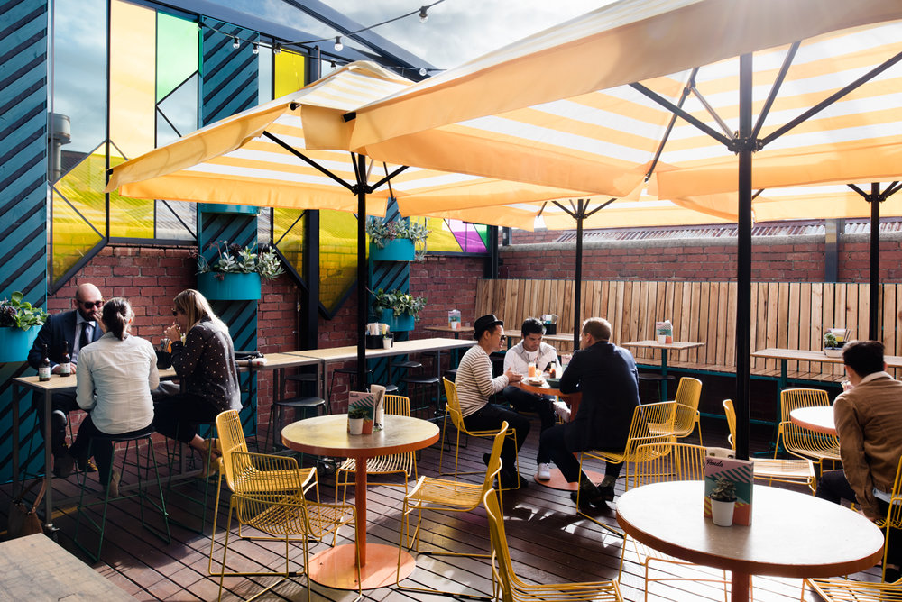 The technicolor rooftop bar at Fonda, Windsor - image by  Tom Blachford  for  Techne Architects
