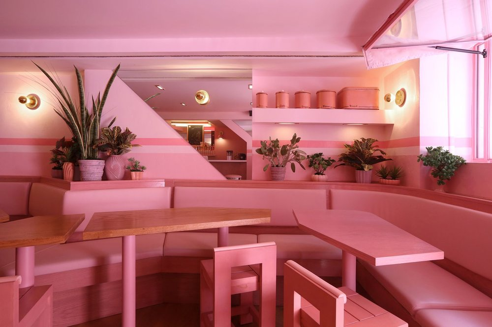 The pretty in pink, Pietro Nolita in NYC  images via Paola Samoa (top)  and  Eater NY (bottom)