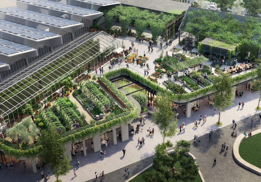 The proposed urban farm at Burwood Brickworks, Melbourne  image via Frasers Property