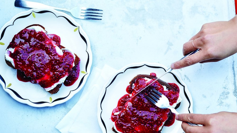 Instagram-worthy, loved and famed brioche toast served with ricotta and jam by  SQRL  that not only looks good but arguably tastes better  image via Bon Appetit
