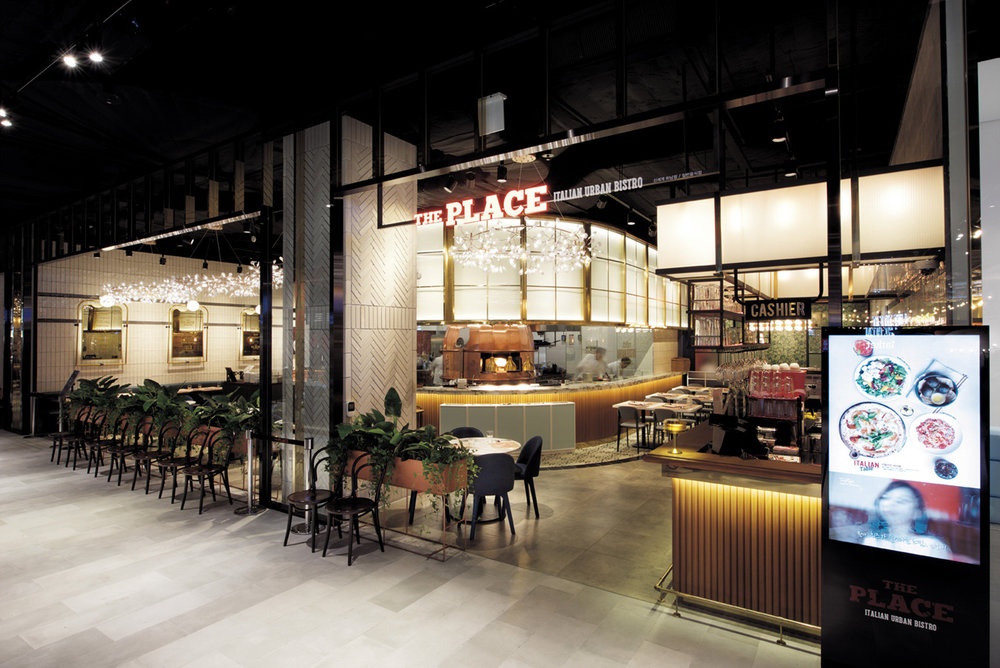 Italian urban bistro, The Place at Future Food`s project, Shinsegae Department Store in Starfield Hanam, South Korea  image via CJ NOW